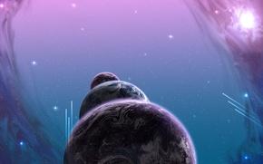 Picture purple, space, planet, stars, comet