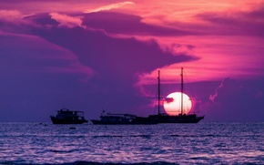 Picture sea, the sun, sunset, ships
