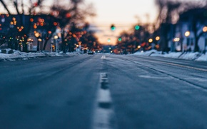 Picture winter, road, nature, lights, bokeh