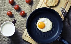 Picture egg, Breakfast, morning, milk, scrambled eggs, tomatoes, food, morning, cup, cherry, fork, breakfast, milk, eggs, …