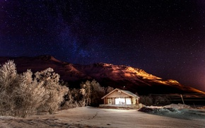Picture light, snow, stars, mountains, nature, winter, trees, house, house, night, the sky, stars