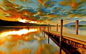 Wallpaper lake, mountains, the bridge, pier, the sky, clouds, sunset