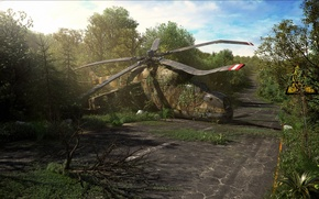 Picture road, greens, thickets, art, index, helicopter, mi-24