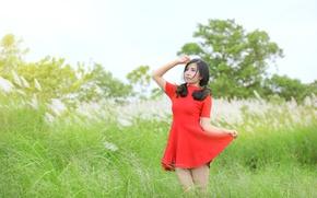 Picture summer, girl, red, dress, walk, legs, Asian