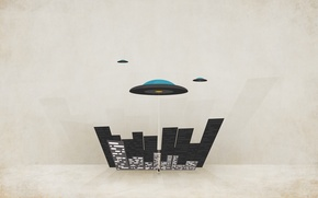 Picture the city, people, UFO, minimalism, plates, flying, minimal Walls
