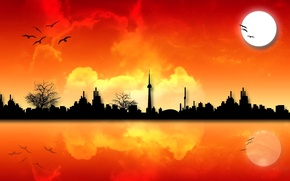Picture the sky, the sun, sunset, birds, the city, silhouette