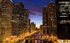 Picture night, lights, building, skyscrapers, America, bridges, Chicago, Chicago, USA, skyscrapers