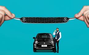 Wallpaper auto, background, man, FIAT, the waters of Bondi beach