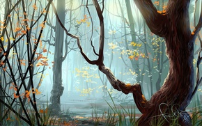 Picture autumn, forest, grass, trees, art