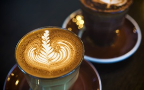 Picture foam, macro, light, pattern, coffee, dishes, glasses, drink