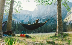 Picture The sky, Nature, Girl, Mountains, Grass, Trees, View, Wallpaper, Day, Hammock, Calm, Journey, Stay, The …