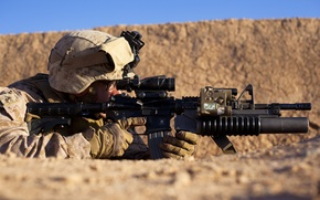 Picture sand, weapons, desert, soldiers, equipment, position