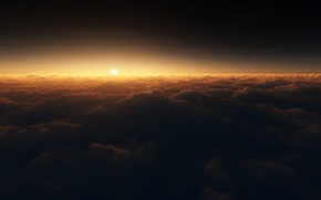 Picture the sun, clouds, sunset, night