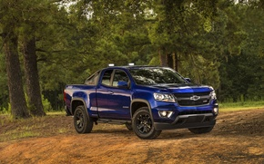 Picture blue, Chevrolet, jeep, Chevrolet, Colorado, pickup, Colorado, Z71, Extended Cab, 2015, Trail Boss