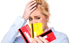 Picture blonde, financial, crisis, expenses, debit cards, concern