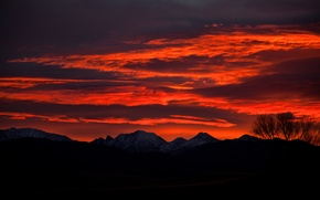 Wallpaper the sky, sunset, mountains, clouds, dal