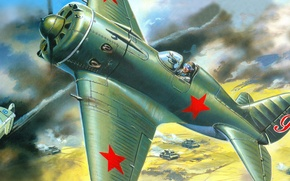 Wallpaper war, smoke, stars, battle, fight, pilot, tanks, -16, Soviet, the Japanese, one, Khalkhin Gol, fighter-monoplane, ...