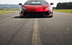 Picture road, asphalt, red, Lamborghini, red, Lamborghini, LP700-4, Aventador, Lamborghini, aventador, Mansory, LB834