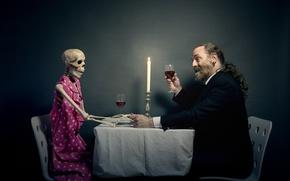Picture wine, skeleton, male