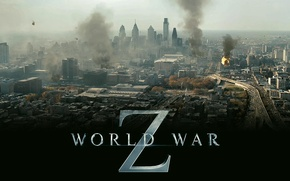 Picture smoke, view, world war z, World war Z, helicopters, the city, the inscription
