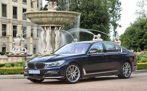 Picture lawn, BMW, track, fountain, mansion, statues, 730d