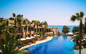 Picture sea, palm trees, view, pool, resort, Cyprus