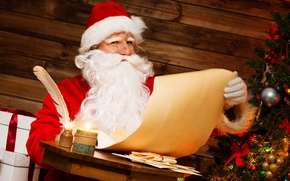Picture letter, paper, table, room, pen, holiday, new year, gifts, tree, Santa Claus, Santa Claus, ink