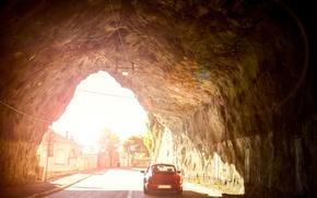 Picture road, car, rock, 911, Porsche, the tunnel, Carrera, tunnel