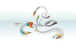 Wallpaper white, design, mouse
