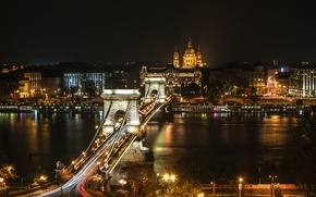 Picture night, bridge, lights, river, home, lights, promenade, Hungary, Budapest, The Danube, Széchenyi chain bridge