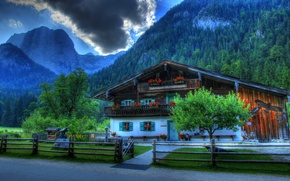 Picture mountains, the city, house, photo, the fence, HDR, Germany, Bayern, mansion, Ramsau