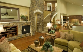 Picture design, sofa, interior, pillow, mirror, ladder, lamp, fireplace, table, vases