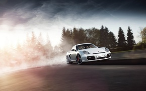 Picture Porsche, White, Smoke, Supercar, Cayman S, Skid, Drifting