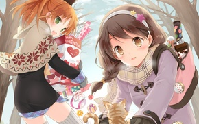 Picture forest, cat, girl, trees, anime, sweets, cake, neko, heart, Valentine's day, Lollipop