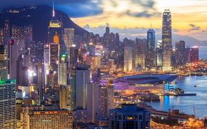 Wallpaper Hong Kong, lights, the evening, home, China