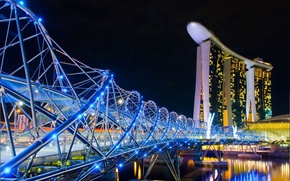 Picture night, the city, Singapore, the hotel, casino, Singapore, bridge.