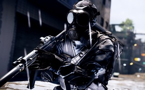 Picture weapons, background, soldiers, gas mask, Battlefield 4