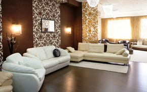 Wallpaper white, design, style, lamp, sofa, tree, interior, chair, pillow, flooring, brown, beige, living room