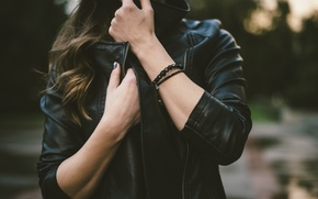 Picture black, hands, jacket, bracelets, kozhanka