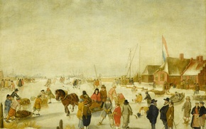 Picture winter, people, picture, genre, Avercamp, Barent, Fun on the Ice