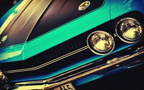 Picture machine, auto, lights, before, Challenger, car, vintage, blue, vintage, front, blue cars, outdoors, headlights, American ...