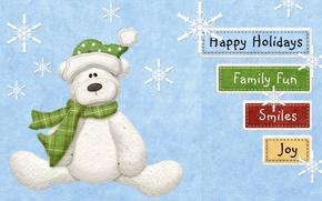 Wallpaper snowflakes, smile, labels, holiday, family, bear, fun