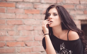 Picture girl, wall, brick, brunette, mole, beautiful, mouth, Olga Bikbaeva