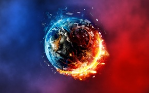 Picture abstract, planet, fire and ice, red and blue