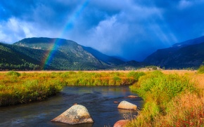 Picture mountains, stream, rainbow, Colorado, river, Colorado, Rocky mountains, Rocky Mountains, Rocky Mountain National Park, National …