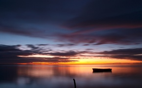Picture the sky, water, clouds, sunset, clouds, lake, surface, reflection, boat, The evening, wooden, column