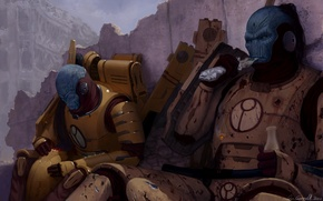 Picture the city, weapons, war, veteran, ruins, warhammer, warriors, rifle, fighters, Empire, break, 40k, tau, for ...