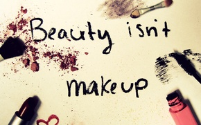 Wallpaper mascara, cosmetics, lipstick, brush, the inscription