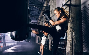 Picture girl, workout, kickboxing