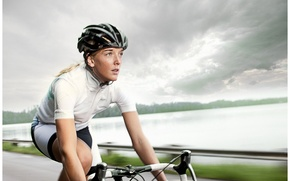 Wallpaper girl, sport, road bike, road Builder